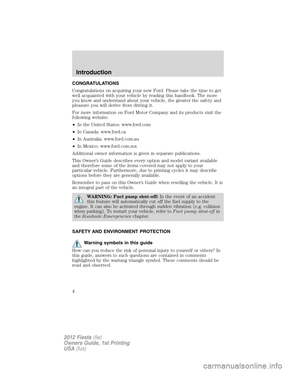 2011 ford fiesta owners manual canada