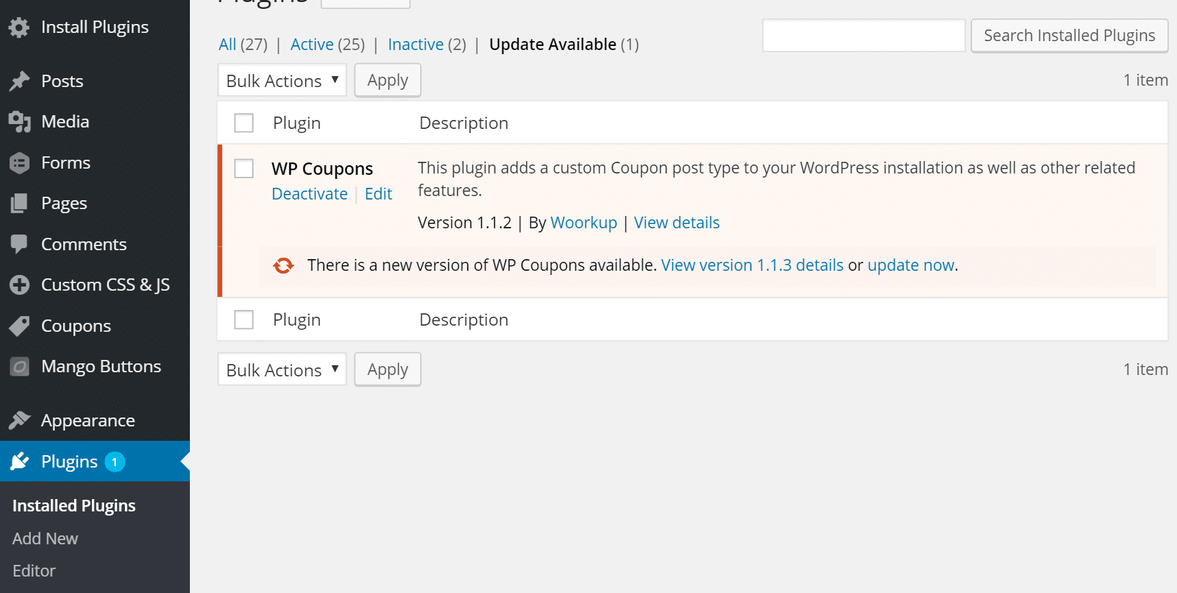 how to manually update plugin in wordpress