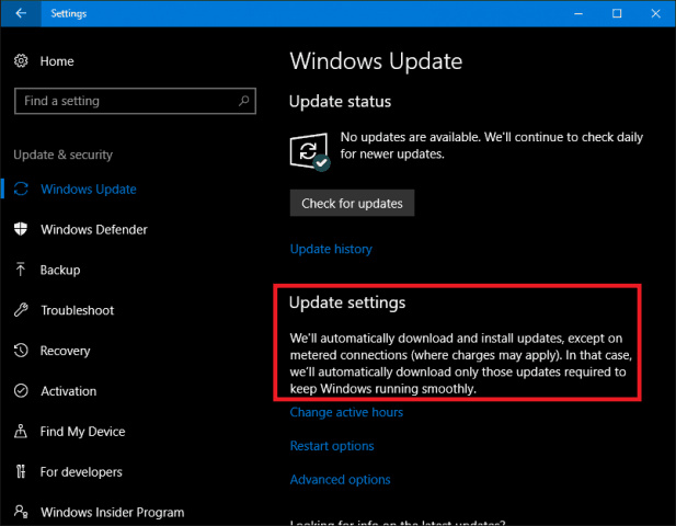 how to manually update windows 10 metered connection