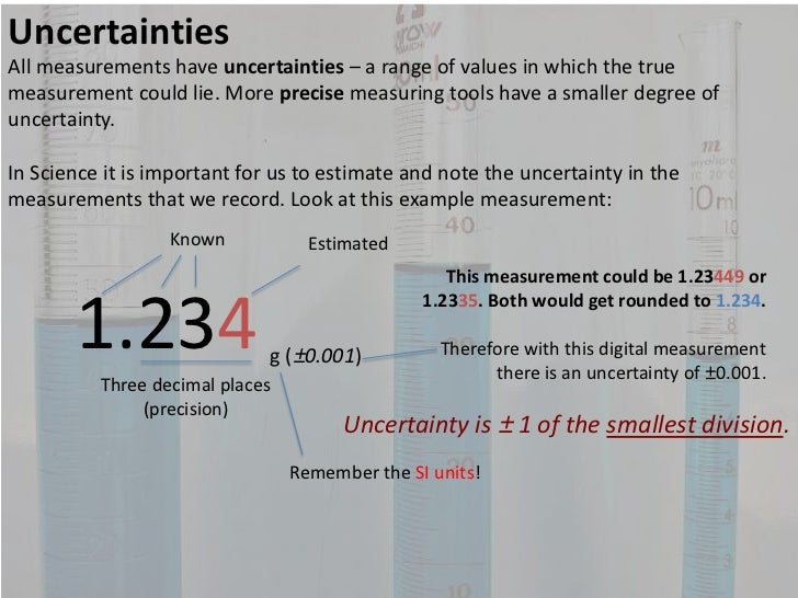 uncertainty and precision for lab manuals